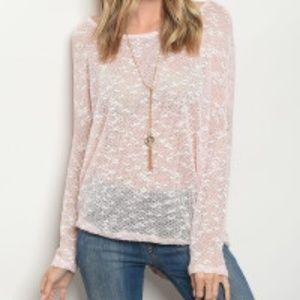 Sweaters - 5⭐️NWT Light Pink Scoop Neck Long Sleeve Sheer Top